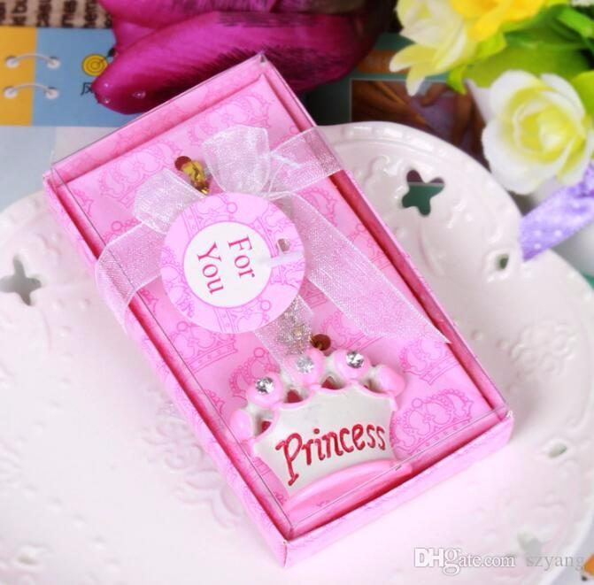 100pcs Pink Princess Blue Prince Crown Design Key Chains Bridal Wedding Baby Shower Favor Gifts Keychains Christmas Gift SN1440