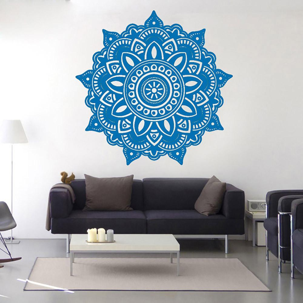 Mandala Flower Indian Bedroom Art Wall Sticker Vinyl Wall Decals Decoration  3D Stickers Living Room Home Decor 42cm x 42cm