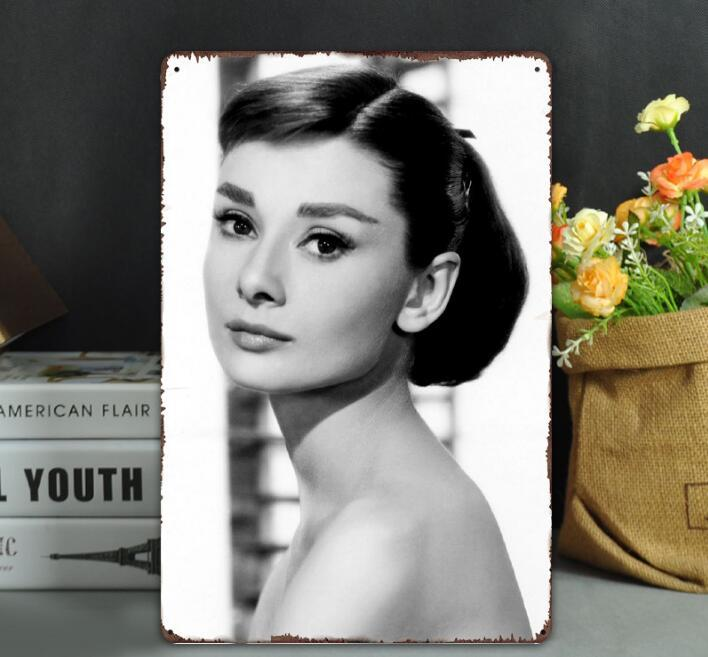 TOP Vintage Metal Tin Signs For Wall Decor Audrey Hepburn Wall Art Iron Paintings Metal Signs Tin Pub Bar Garage Home Decoration