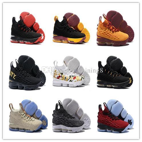 sports shoes 9333a 9e694 ... france 2018 2018 lebron 15 men basketball shoes black gold sports lebron  james shoes mens running