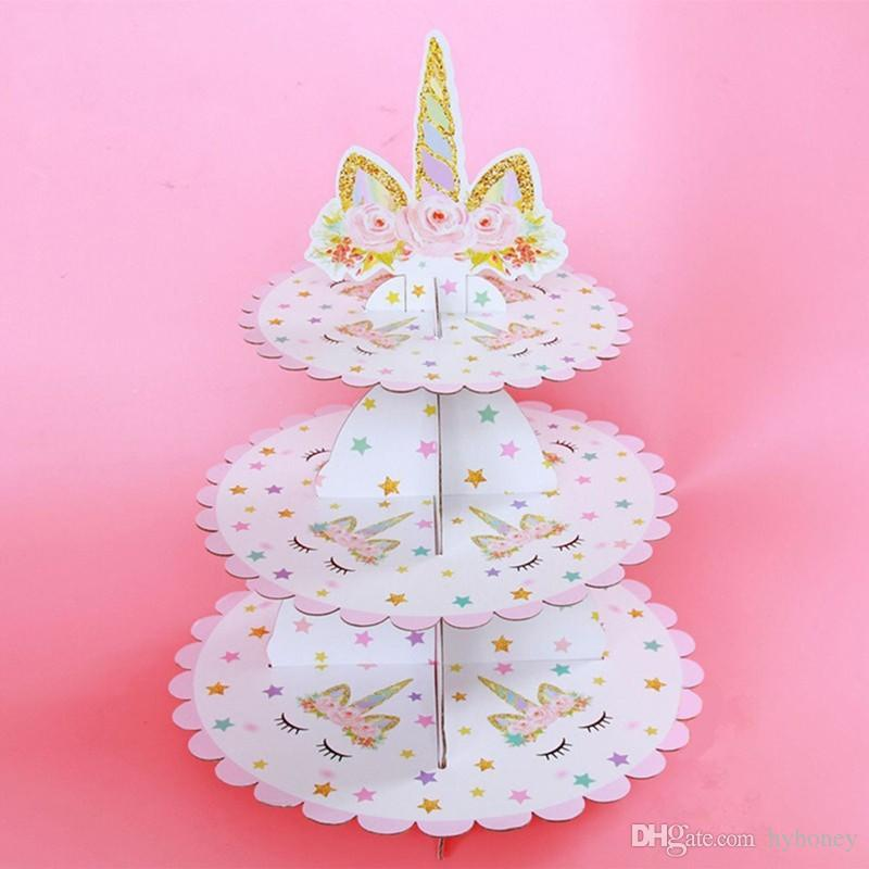 unicorn cake stand three layers unicorn cake stand birthday party supplies unicorn dessert stands wedding party favors christmas decoration items christmas - Unicorn Christmas Decorations