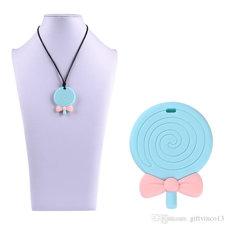 Lollipop Pendant Silicone Teething Necklace for Baby to Chew Circle Lollipop Teethers Toy Nursing Necklace Food Grade Silicone Chew Beads