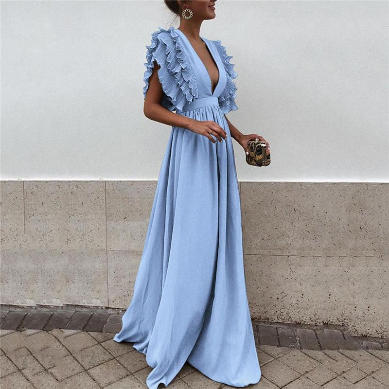 2018 Summer New European Women S Butterfly Sleeves Formal Dress Sweet V  Neck Backless Maxi Dress Solid Color Empire Party Dresses For A Cocktail  Party ... 5495d07783