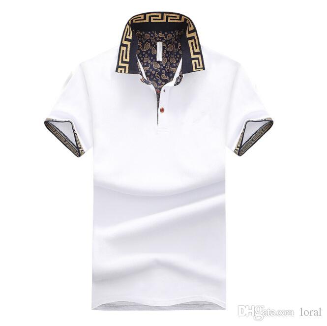 Hombre del diseñador de lujo camisas masculino del verano da vuelta abajo a la camisa de manga corta de algodón para hombres Casual Tops