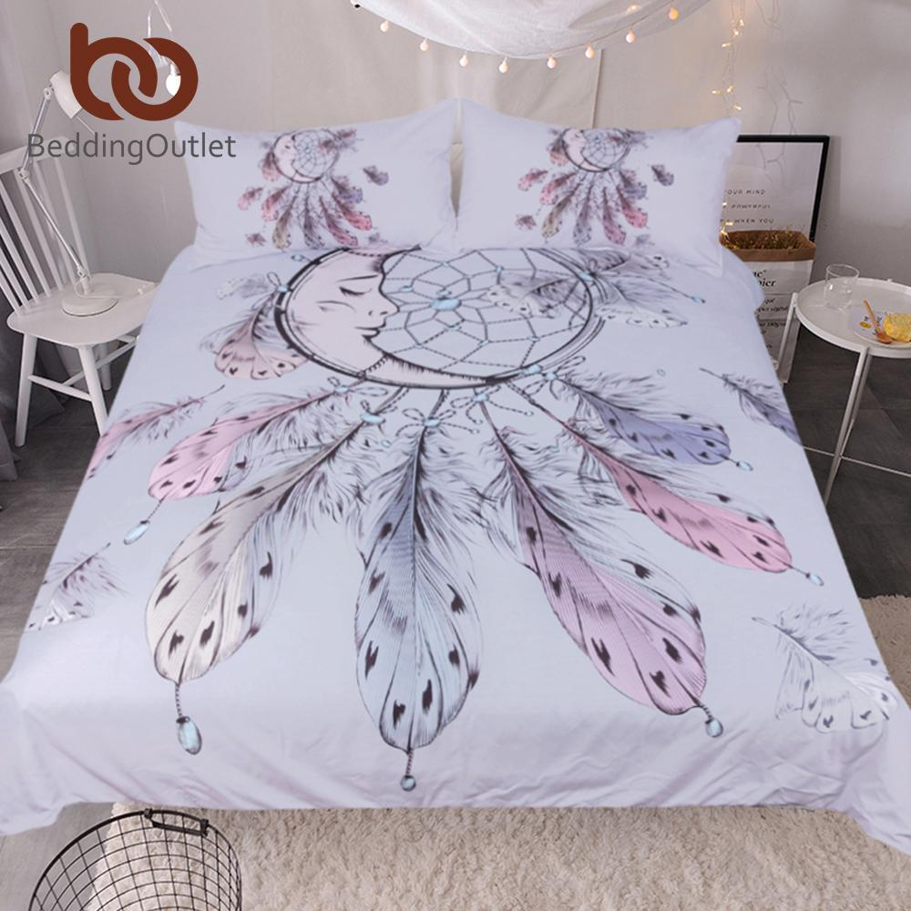 Beddingoutlet Moon Dreamcatcher Bedding Set Queen Size Feathers Duvet Cover  White Bed Set Beautiful Bedclothes Gray Twin Comforter Duvet Covers Bedding  From ...