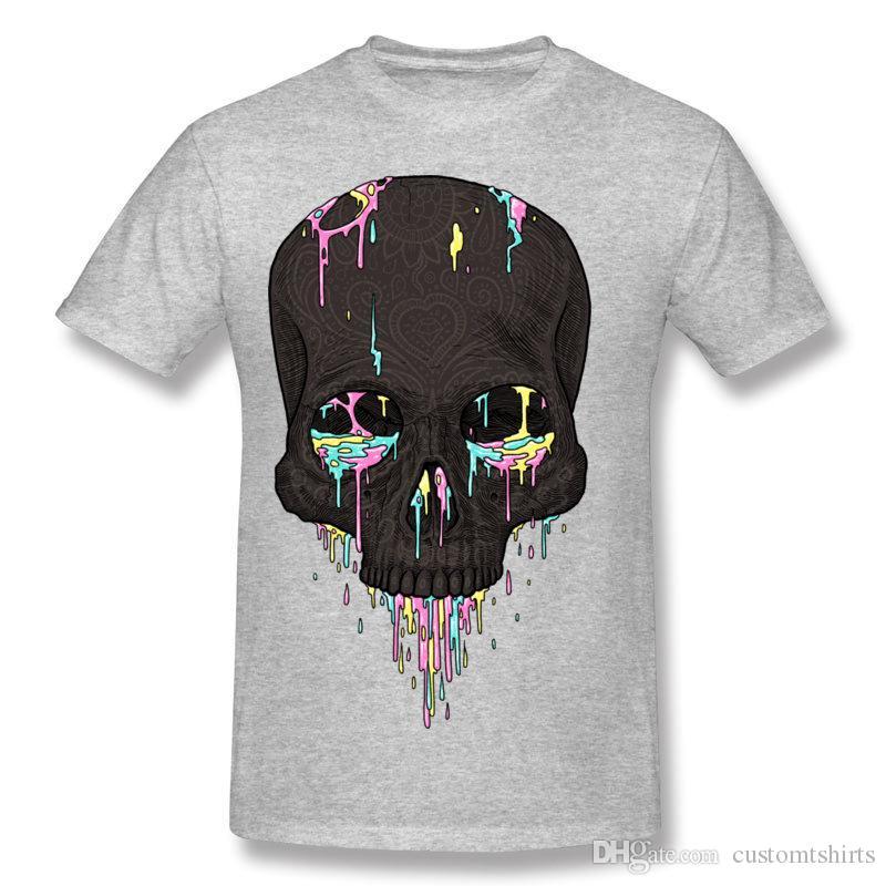 Discount Men 100 Cotton Candy Drips T Shirt Men Round Neck Navy Blue Short Sleeve T-Shirt 6XL Summer T Shirt