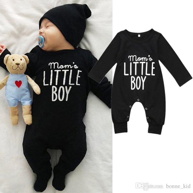 812dcdd80 Compre Bebé Infantil Negro Manga Larga Mono Mameluco Pijama Imprimir Carta  Mamá Niño Pequeño Mono Bebé Recién Nacido Ropa Para Niños Mamelucos 0 24M A   6.68 ...