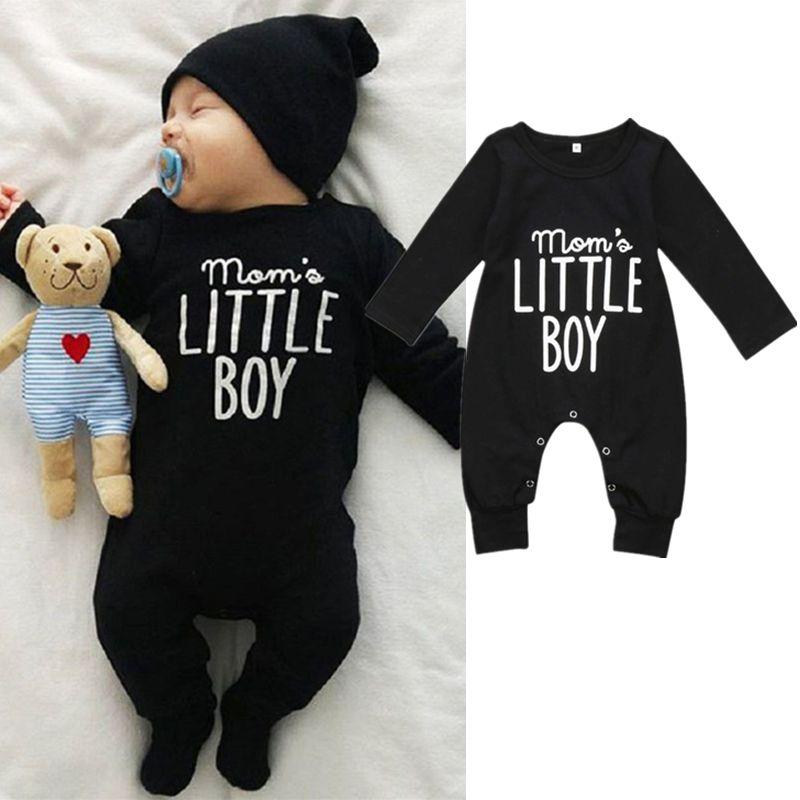 1d2f58a68 2019 Infant Baby Boy Black Long Sleeve Jumpsuit Romper Pajamas ...