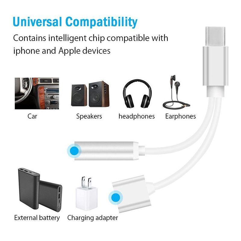 2 in 1 ladegerät und audio typ c kopfhörer kopfhörer jack adapter stecker kabel 3,5mm aux kopfhörer jack audio adapter für samsung galaxy