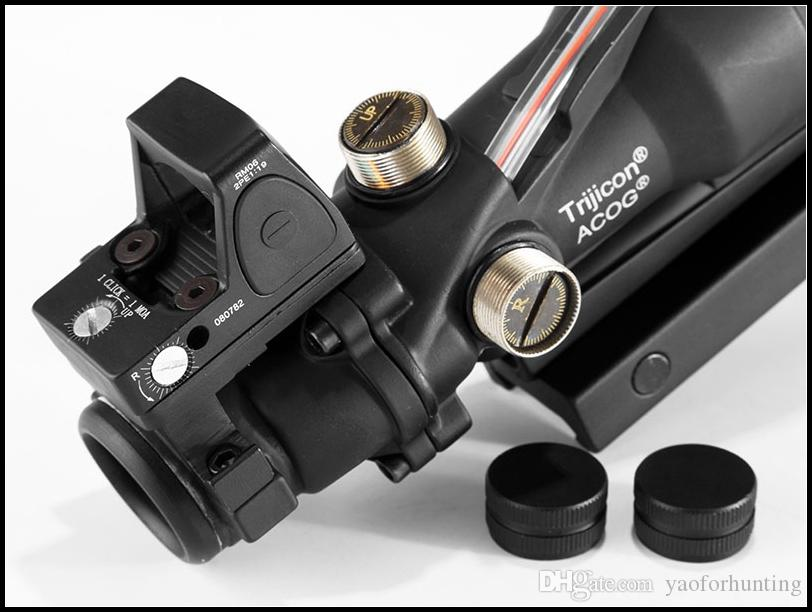 Tatical Scope Trijicon ACOG 4x32 Real Fiber Optic Red Illuminated with RMR Micro Red Dot Sight For Hunting Field sport