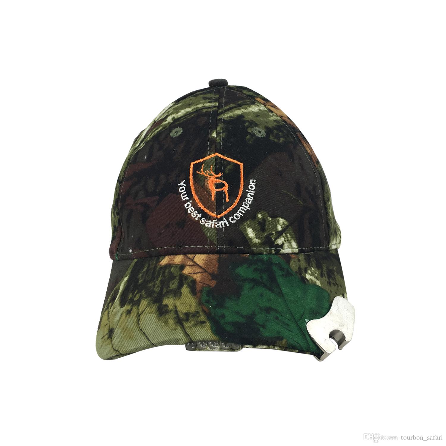 Tourbon Top Quality Tactical Camo Hunting Fishing Hat with 5 LED ... d746451a1cc
