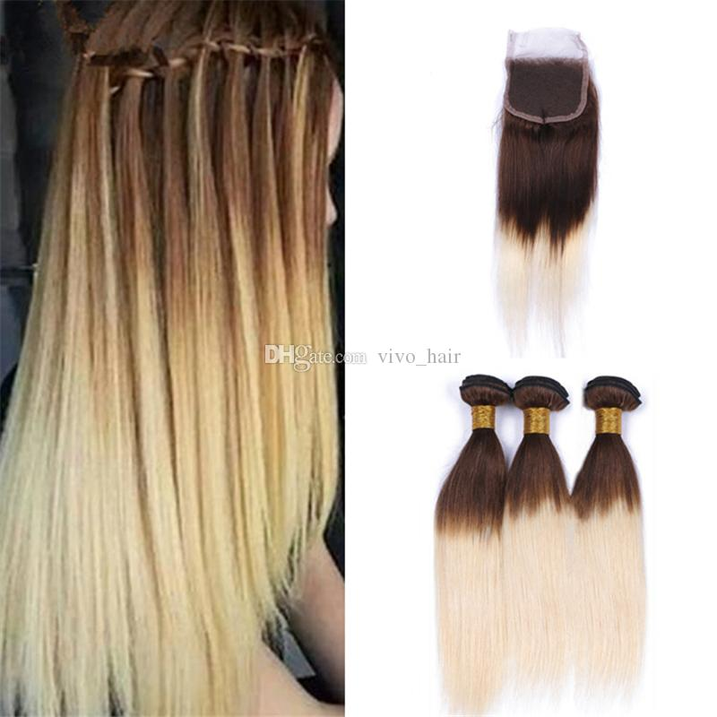 2019 Chestnut Brown Blonde Ombre Straight Bundles With Lace Closure