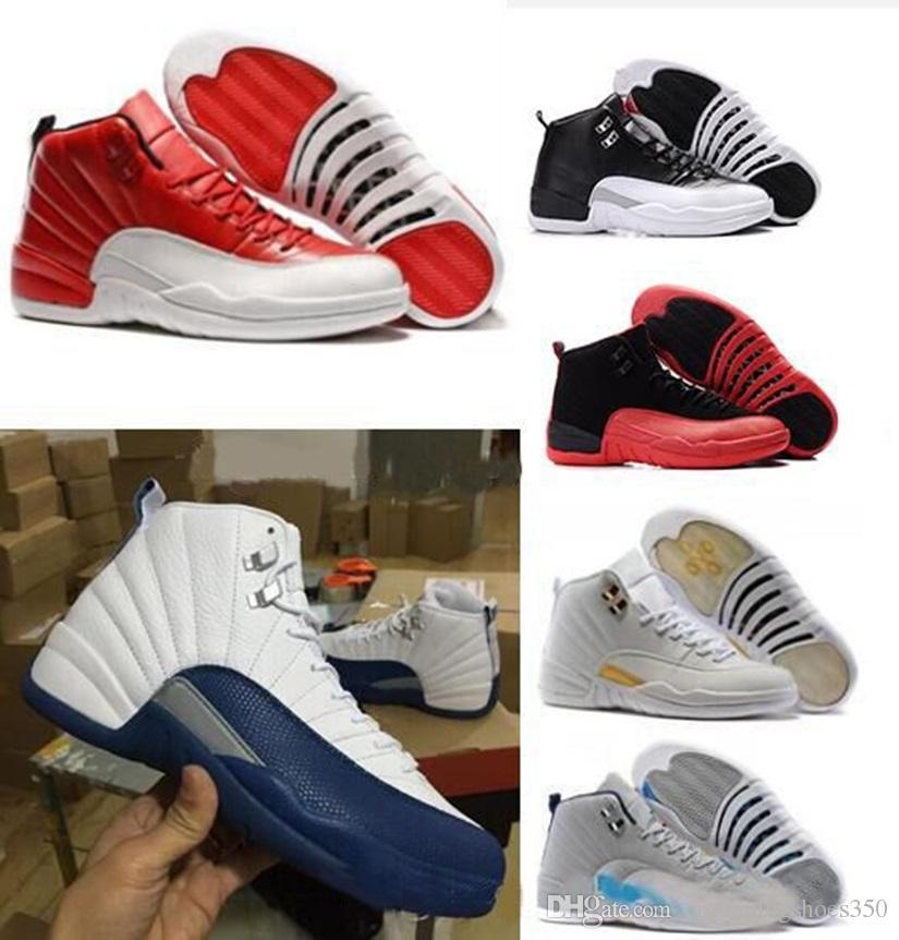 the best attitude b1199 78894 Acheter Nike Air Jordan 12 Aj12 Retro Haute Qualité 12 12s OVO Blanc Gym  Rouge Gris Foncé Chaussures De Basketball Hommes Femmes Taxi Bleu Suede  Grippe Jeu ...