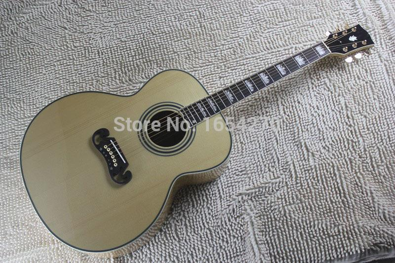 New Arrival Dot Spruce Beige Electric Acoustic Guitar With Fishman