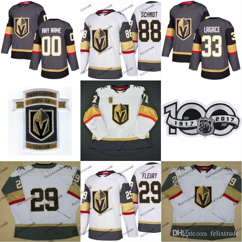 95ff54538 2019 Vegas Golden Knights 2018 Inaugural Season 100th Patch 88 Nate Schmidt  4 Clayton Stoner 29 Marc Andre Fleury 33 Maxime Lagace Hockey Jerseys From  ...