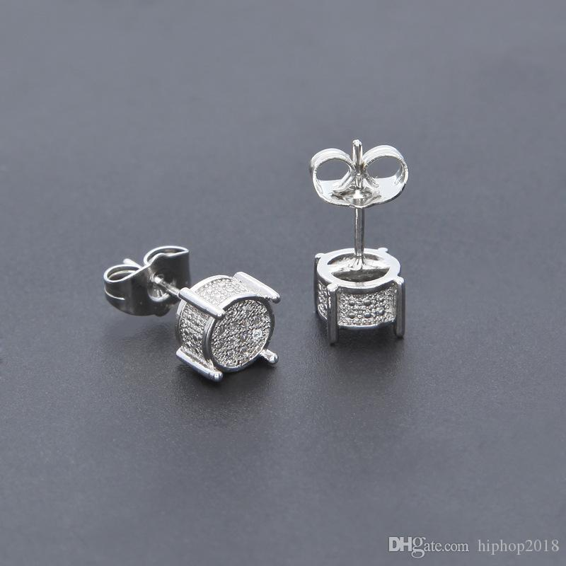 Mens Hip Hop Stud Earrings Jewelry High Quality Fashion Gold Silver Zircon Round Earrings For Men
