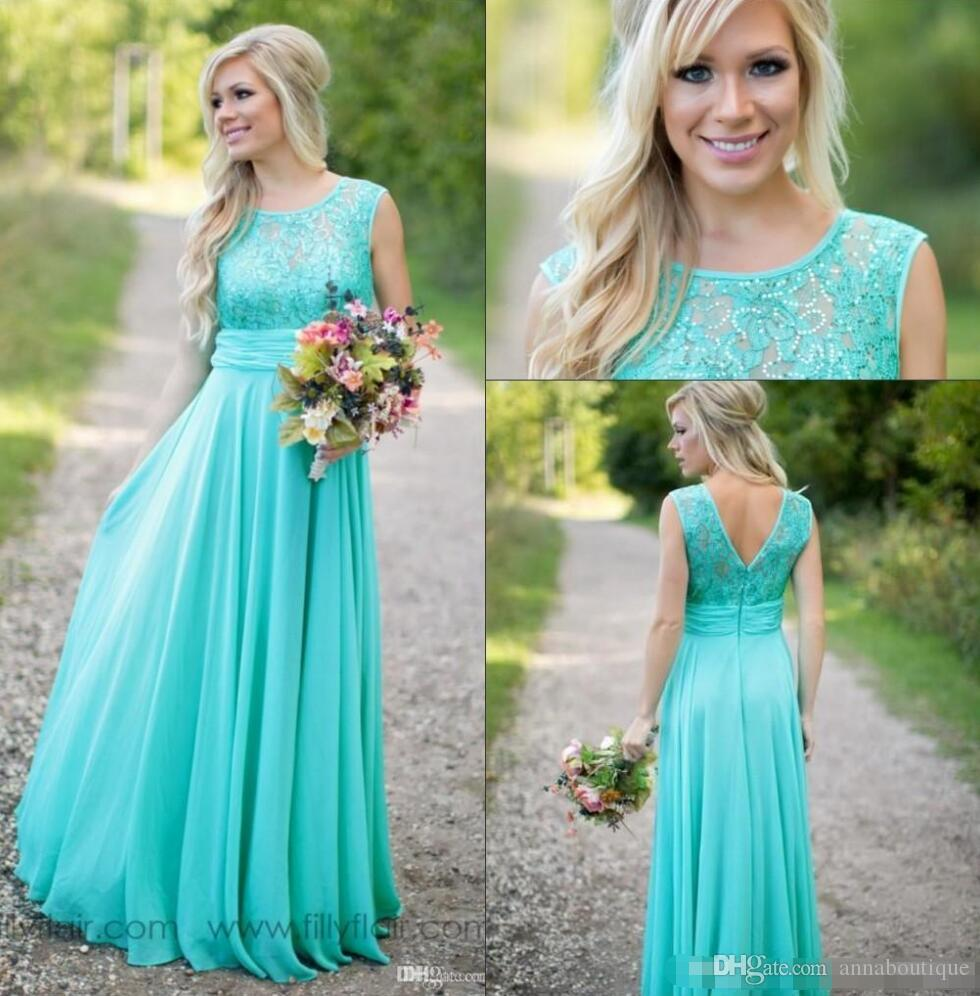 2018 New Teal Courty Bridesmaid Dresses Scoop Chiffon Beaded Lace V ...