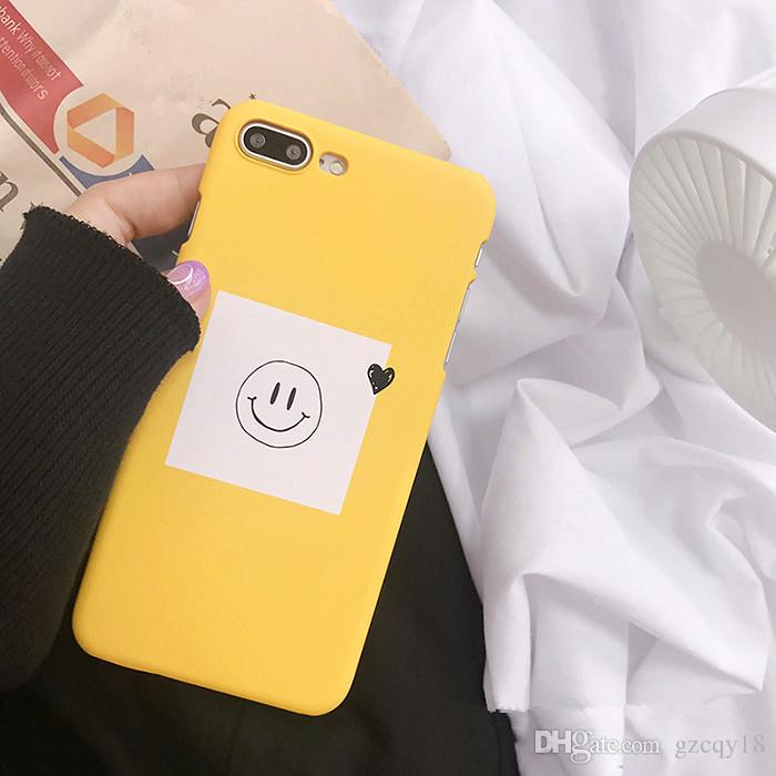 new arrivals d7951 e343e 3D Kawaii Smile Love Heart Matte Phone Cartoon Case for IPhone X XS 8 7 6s  6 Plus Hard Frosted Cute Shell Cases Yellow
