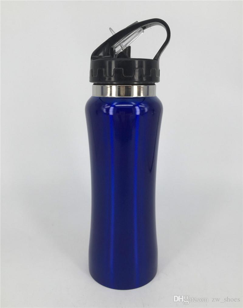 Новая бутылка для воды из нержавеющей стали на 20 унций Неизолированная BPA Бесплатная соломенная крышка Одностенная спортивная бутылка для велосипедистов, бегунов, туристов