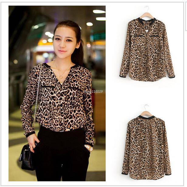 dc53d4c2db5432 Großhandel Blusas 2018 Frauen Bluse Leopard Print Shirt Langarm V Neck Frauen  Tops Lose Chiffon Blusen Shirt Camisa Feminina Von Zhang110119, $11.52 Auf  De.