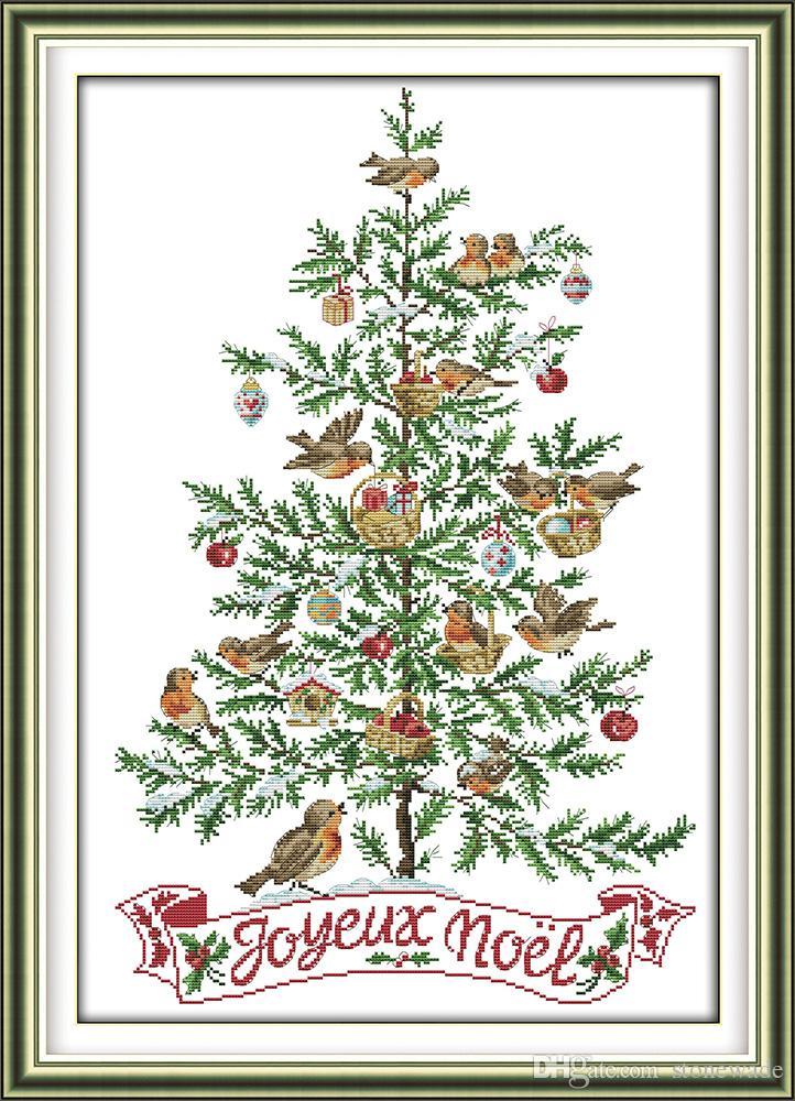 Der Weihnachtsbaum.Der Weihnachtsbaum Mit Vogel Dekor Gemälde Handmade Cross Stitch Stickerei Handsets Gezählt Druck Auf Leinwand Dmc 14ct 11ct