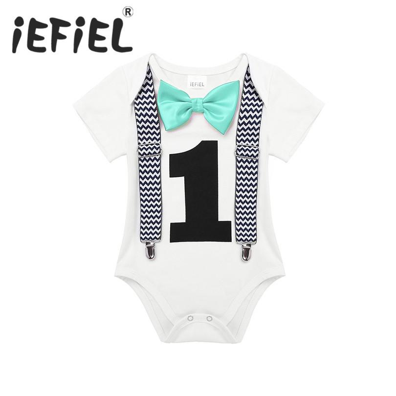 5804ea7b5 2019 IEFiEL Toddler Newborn Baby Boys 1st Birthday Romper Summer Clothes  Infant Jumpsuits For One 1 Year Old Party Gentleman Romper From Sophine13,  ...
