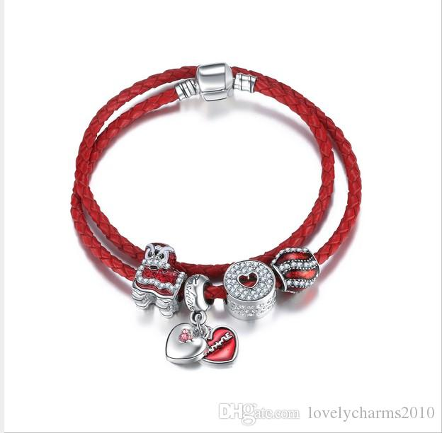 62557b99b 925 Sterling Silver Red Charm Bead Fit European Pandora Bracelets For Women  Charm Double Layer Genuine Leather Chain Fashion Jewelry Gold Charm  Bracelets ...