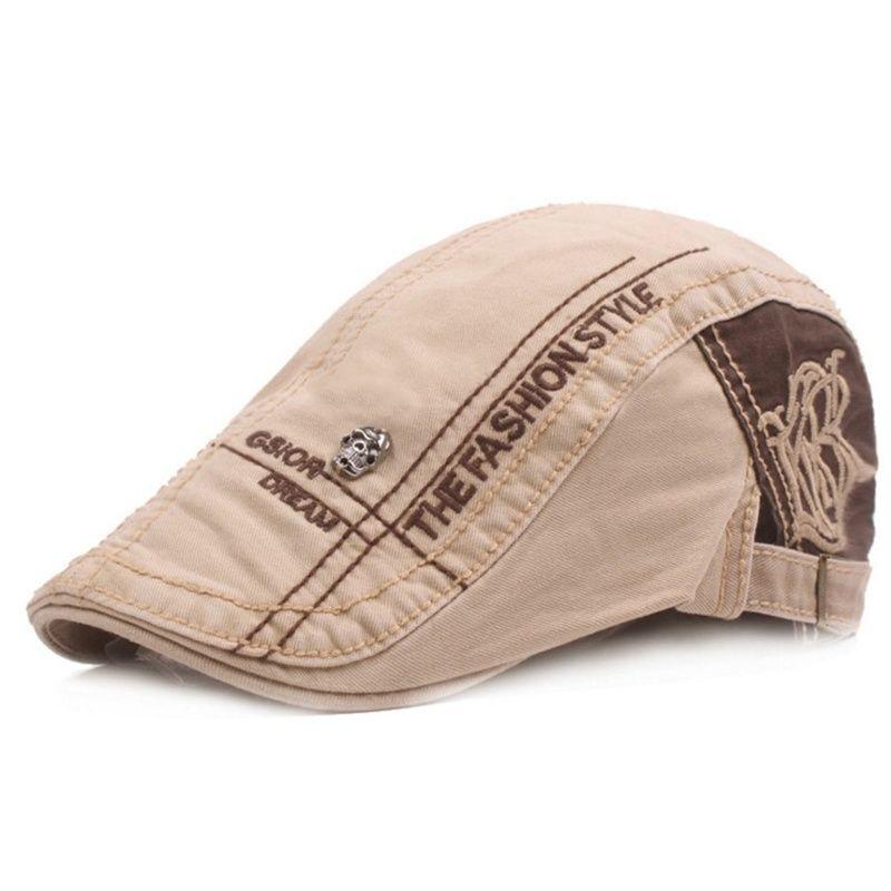 Compre 2018 Algodón Vintage Boinas Planas Gorras Para Hombres Cartas  Bordado Boina Sombreros Gorras Planas Newsboys Duckbill Cap A  41.91 Del  Ywsunstone ... 836355ab07d