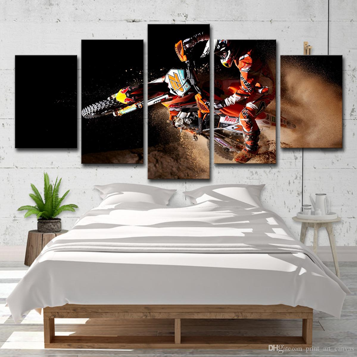Canvas poster wall art home decor 5 pieces motorcycle paintings for living room hd prints x game sports motor pictures