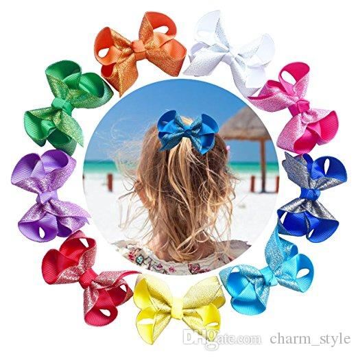SALE Hair Bows Girls Boutique parkly Bows Sequin Alligator Clips s For Toddlers Grosgrain Ribbon Bows Adorable Gift Set Of