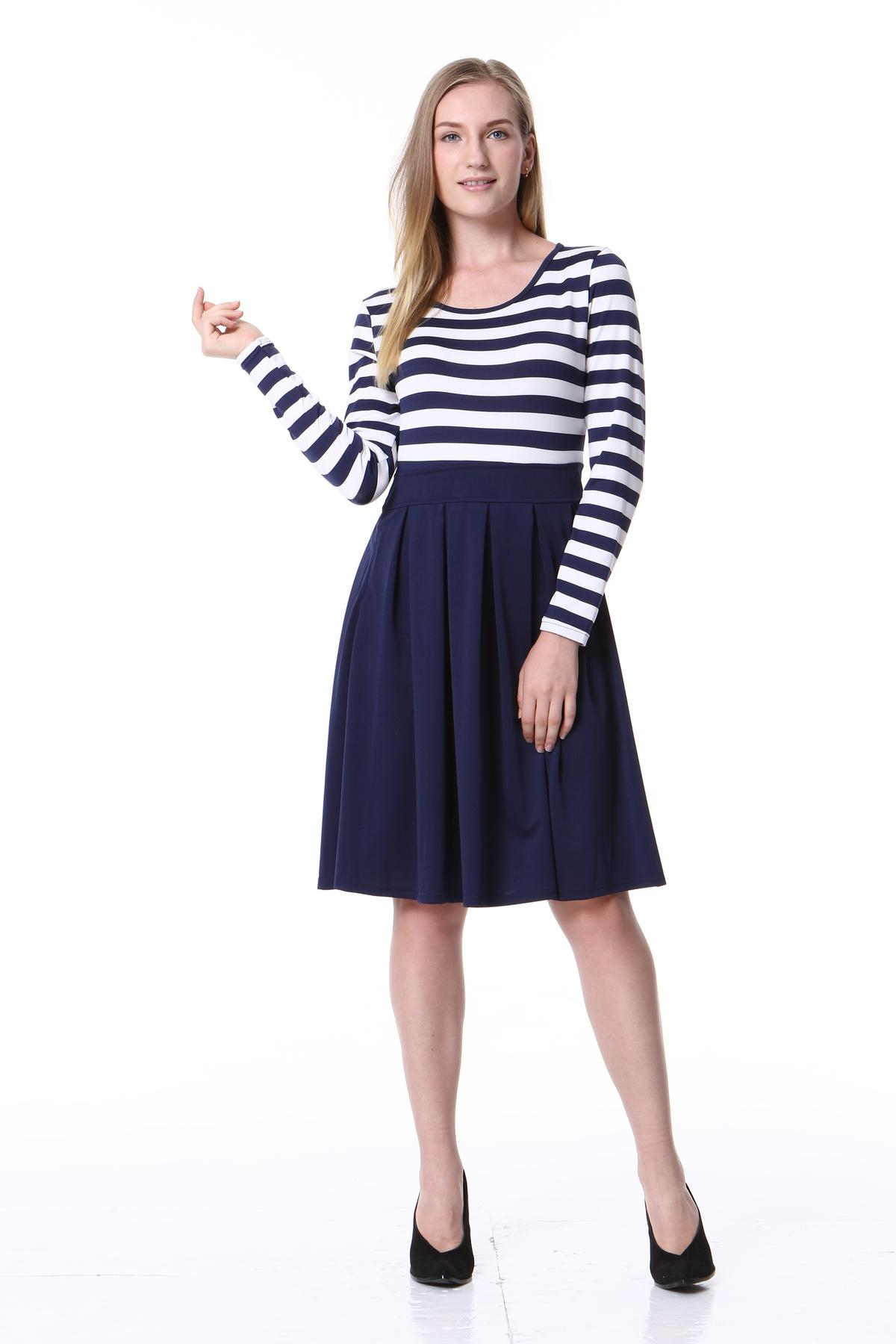 e98384990f0d Mixfeer Women S Casual Striped Dress Vintage Scoop Neck Long Sleeve Swing Dress  2018 Spring