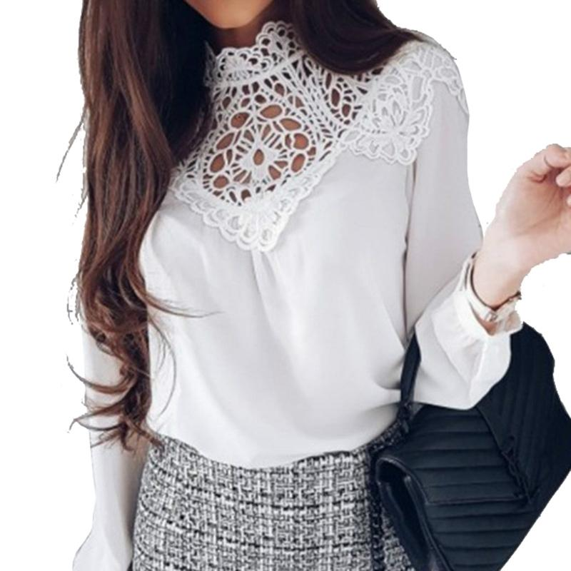 e336cb7bbbf 2018 Spring Summer Women Blouses Chiffon Lace Hollow Out Shirts Women Top Long  Sleeve Solid Blusas Shirt Plus Size Femme 2018 GV499 From Lixlon03