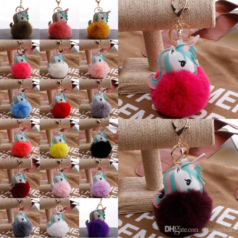 2018 Fluffy Fur Unicorn Keychain Faux Rabbit Fur Ball Pompom Horse Key Chains Bag Charms Trinket Car Key Ring Gift 24 Styles H597Q