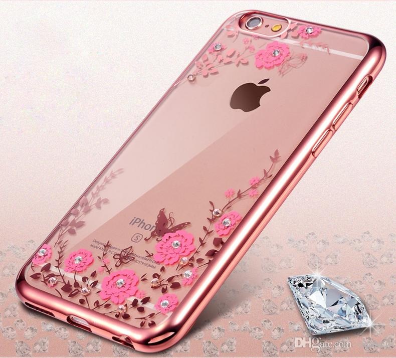 Luxury Bling Diamond Electroplate Frame Soft TPU Case For IPhone X 8 7 6S  Plus 5S Samsung S8 Note 8 Secret Garden Flower Clear Cover Shell Customized  Phone ... 5935f9b0b9c21