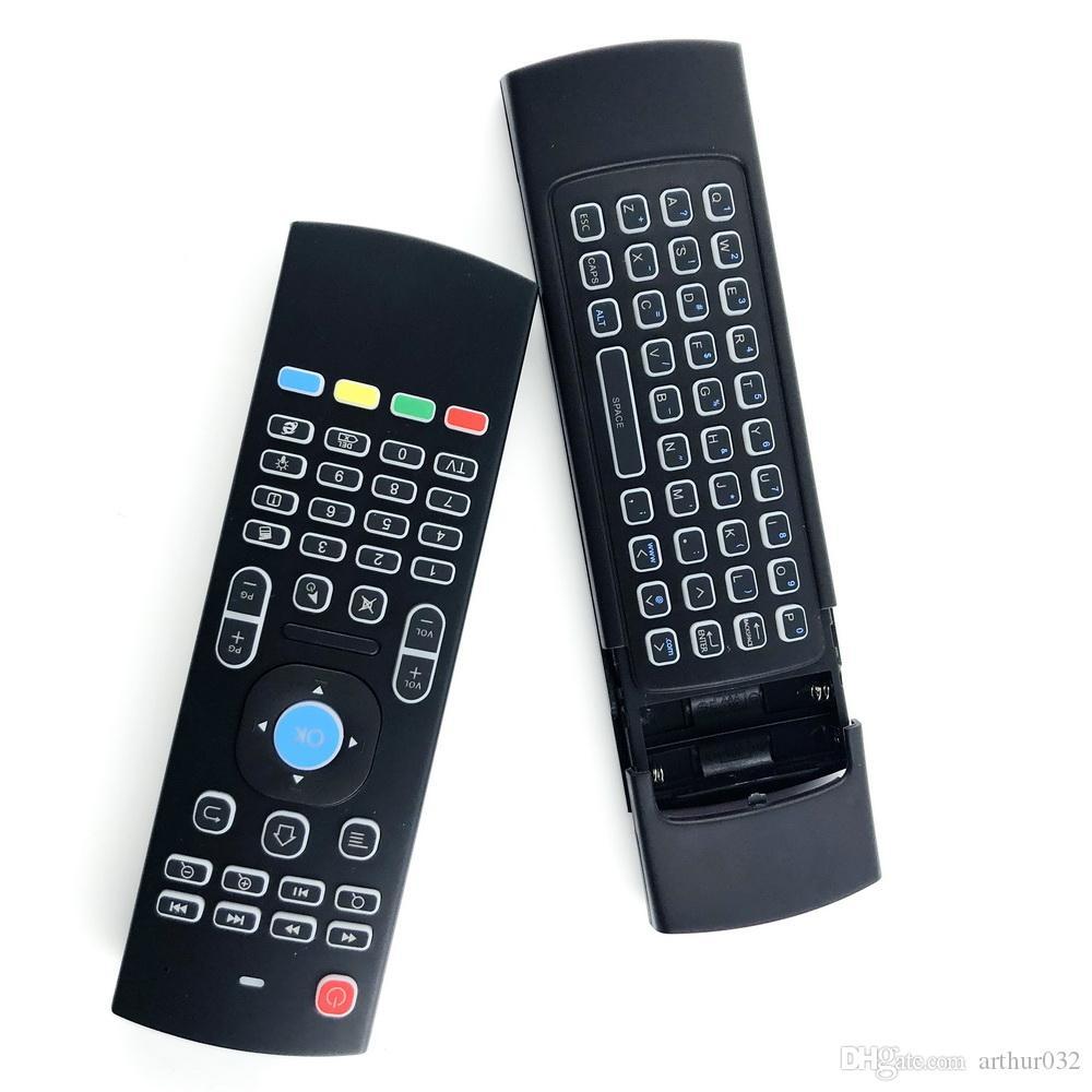 X8 Retroiluminación MX3 Teclado con aprendizaje de IR QWERTY 2.4G Control remoto inalámbrico 6Axis Fly Air Mouse Gampad para Android TV Box I8