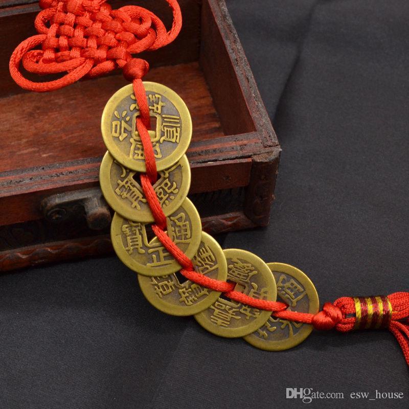 빨간 중국어 매듭 FENG SHUI 6 행운의 부적 세트 고대 동전 번영 보호 좋은 행운 홈 자동차 장식