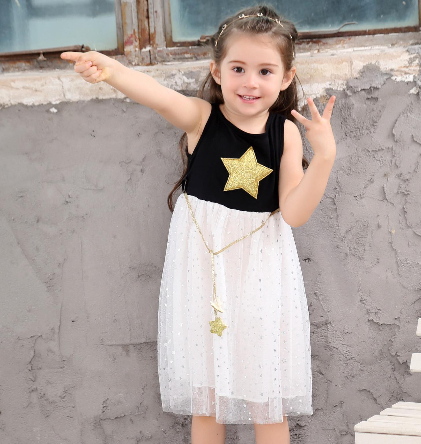 36fbb43461b1d Hot 2018 new dresses girls wear five-pointed star children s dress princess  dress cotton dress free shipping