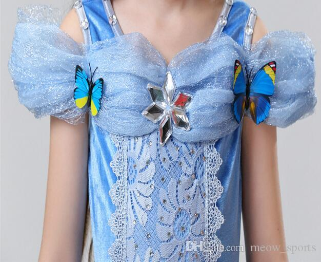 Snowflake butterfly dress fancy dress costumes for kids blue Cosplay gown Halloween baby girl dress in stock