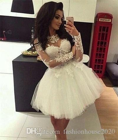 86a9645241 2018 Short Mini A Line Homecoming Dresses Jewel Neck White Tulle Illusion  Long Sleeves Lace Appliques Cocktail For Juniors Prom Party Gowns Long Red  ...