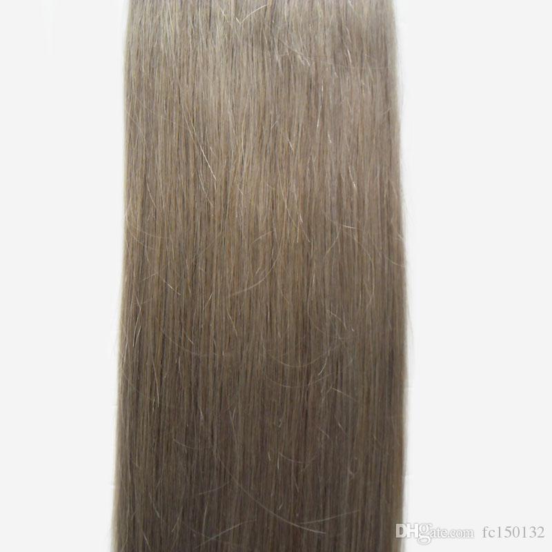 الفضة البرازيلي الشعر 100 جرام 40 قطعة / المجموعة الفضة رمادي الشريط تمديد الجلد لحمة الشعر 12