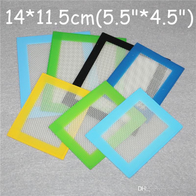 Tappetini in silicone Tappetini antiaderenti in silicone Tappetini in silicone secco erba 14 * 11.5cm Materassino alimenti in plastica Dabber Lenzuola Vaschette Tampone verde blu giallo