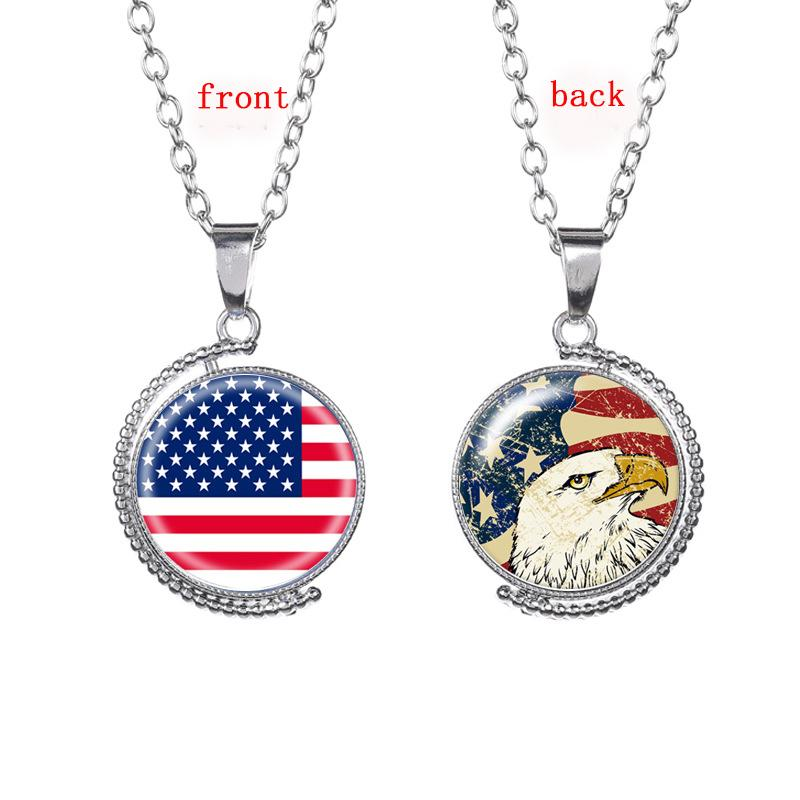 gold us pendant necklace dog flag tag patriot silver american usa link itm chain