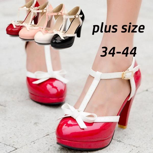 Compre Tallas Grandes 34 44 Sexy High Chunky Heels Shoes Mary Jane Pumps Moda  Mujer T Strap Zapatos De Punta Redonda Cute Dress Platform Pumps Con  Bowknot A ... 331739de26cb