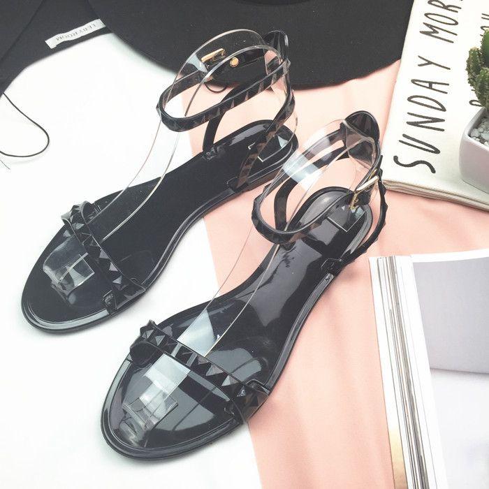 21d79764c ANGUSH New Arrival Women Casual Sandals 2018 Hot Sale Rome Simple Basic  Style Open Toe Flats Shoes Female Summer Fashion Black Beach Sandals  Espadrilles ...