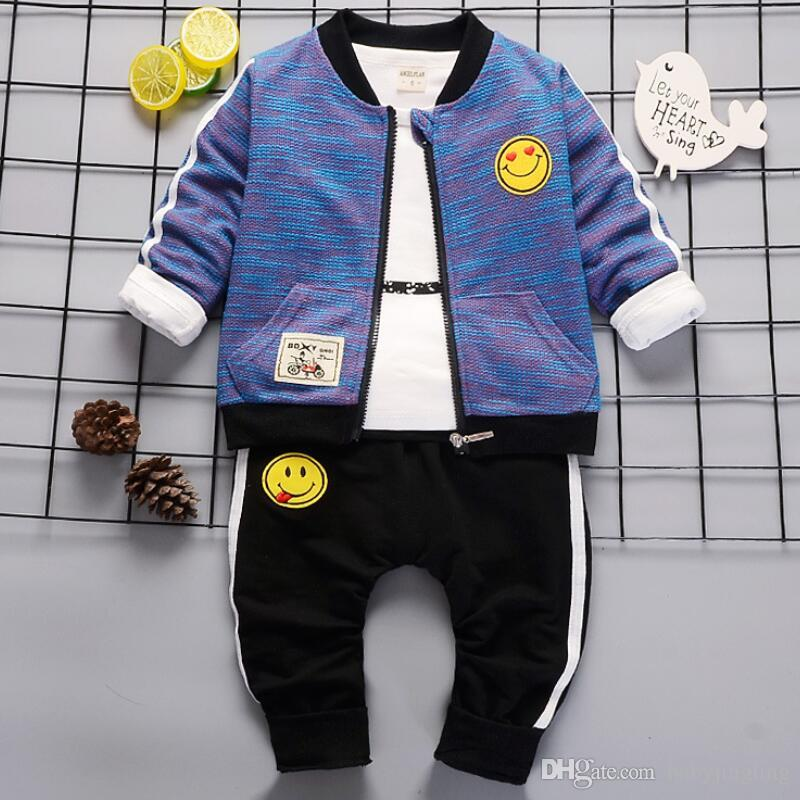 87aa2ef87 Children Boy Clothes 3PCS Tracksuit Set kids Boys Sport jacket Coat +Tops++Pants  Cartoon smiling face Baby Suit Baby Clothing