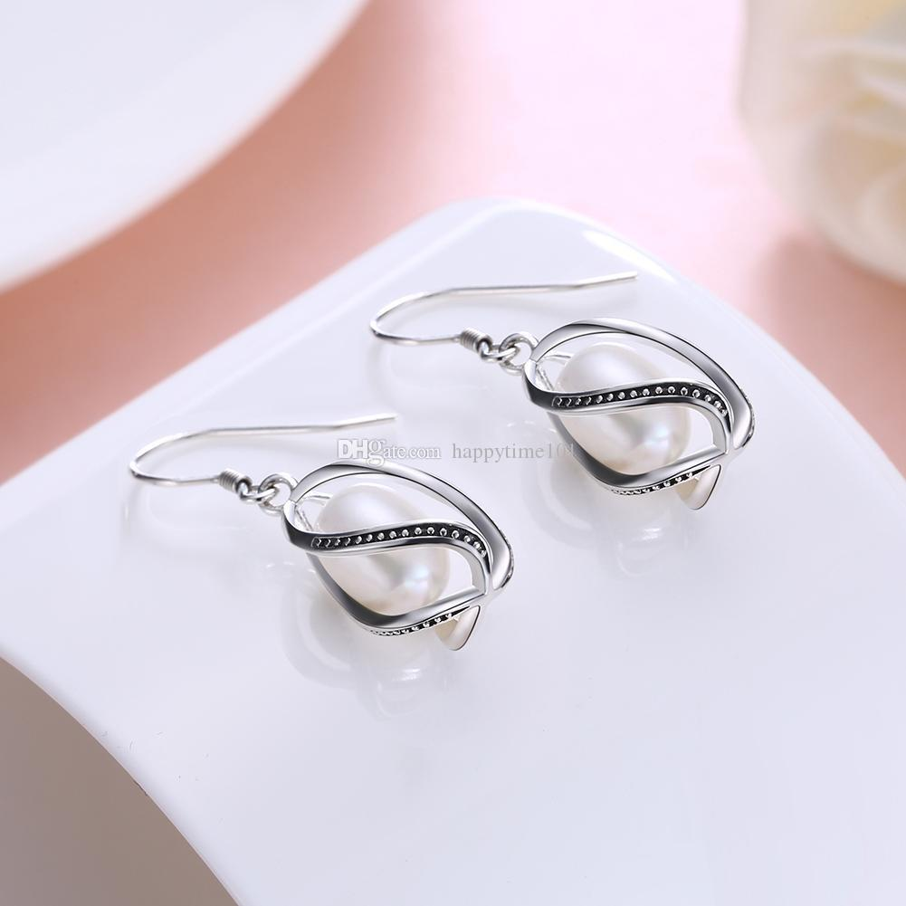 Trendy Jewelry 925 Sterling Silver Material Earrings Retro Processing Shell Pearls Charms Imitation Pearl Earrings Drop Earring