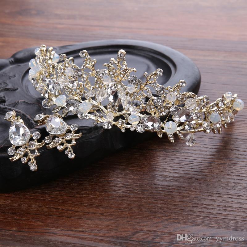 ترف الزفاف حجر الراين بلورات الزفاف الملكي الملكة التيجان الأميرة كريستال الباروك حفلة عيد الميلاد التيجان القرط الذهب الوردي الحلو 16