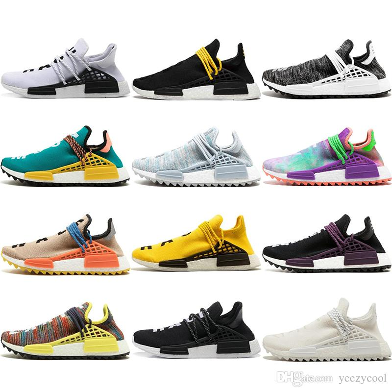 2ecffebb3 2019 Human Race Running Shoes AAA Best Quality Pharrell Williams X Hu Trail  Cream Core Black Nerd Equality Holi Trainers Men Women Sport Sneakers From  ...