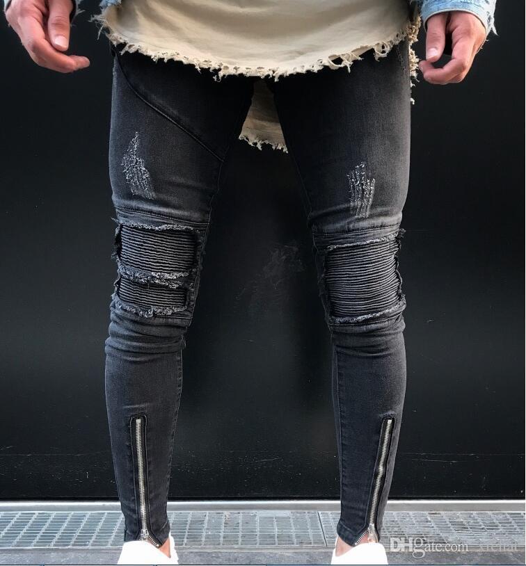e39f960612 2019 Men s Biker Ripped Skinny Jeans Fashion Designer Knee Creases Stitch  Hole punk Slim Fit Denim Pants Casual Washed Zipper Trousers