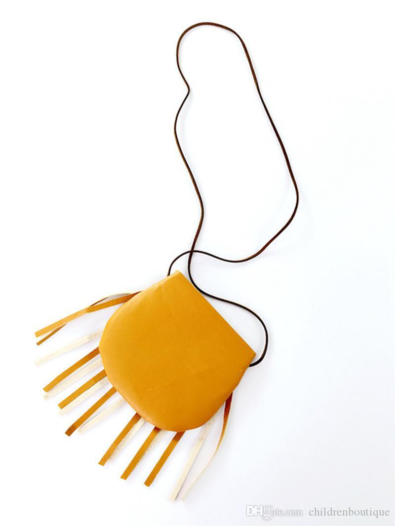 Kinder Tasche 2018 Nette handgemachte Quasten Knöpfe Umhängetasche Kinder PU Material Geldbörsen Teenager Handtasche Baby Mini geneigt Umhängetasche 4 Farben